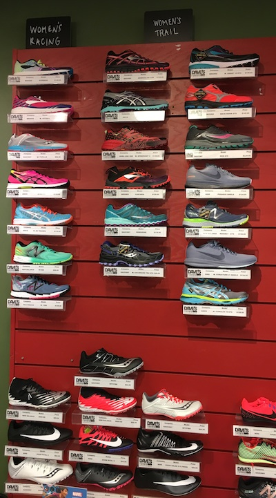 More women's athletic shoes at a specialty athletic shoe store