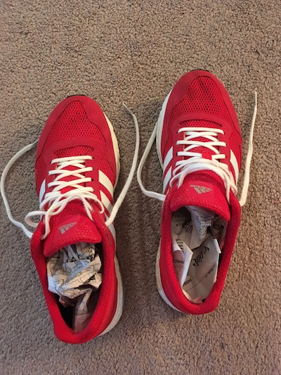 Athletic shoes stuffed with newspapers