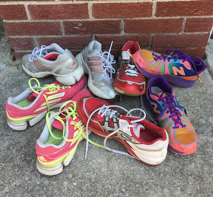 Recycling old athletic shoes is a great option