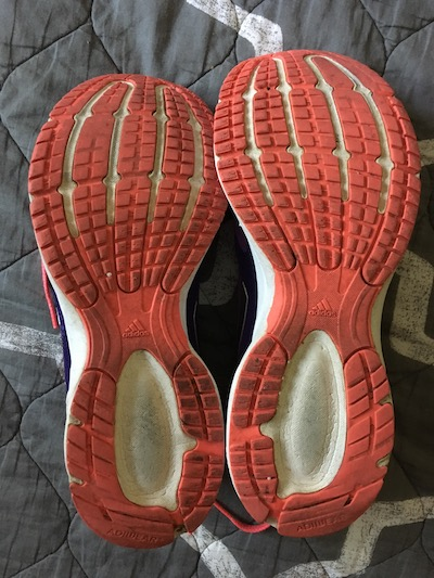 Worn running shoe treads