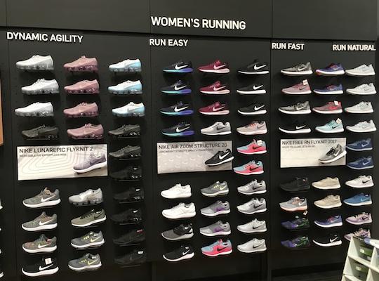 Nike shoes on display