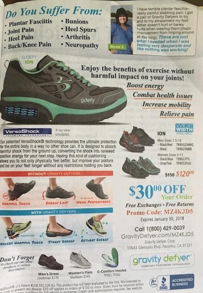 Gravity Defyer shoe ad